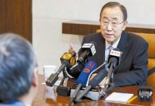 반기문 유엔 사무총장이 28일 뉴욕 유엔본부에서 중국 언론과 인터뷰하고 있다. [신화=뉴시스]