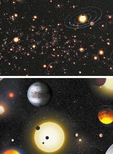 1·2 우주 곳곳에 널리 존재하는 별(항성)과 그 주변을 도는 행성을 모사한 상상도.